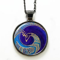 beautiful photo gifts - 10pcs Peacock necklace the secular bird beautiful noble bird necklace Glass Photo gift necklace