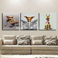 Wholesale High Quality Modern Funny Animal Dog Oil Painting On Canvas Hand painted Various Dogs Oil Painting For Living Room