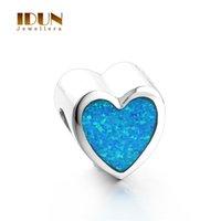 Wholesale Love heart charms bracelets for women Vintage Silver Opal Stone charms Fits Statement Bracelets Necklaces wedding Jewelry FX004