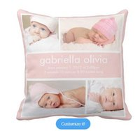 Wholesale Peach Birth Announcement Throw Pillow