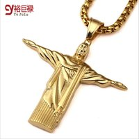 angels christ - 2016 New Stainless Steel Gold Plated Christ Redeemer Pendant Necklace For Man Brazil Rio De Janeiro Statue Jesus Charm Cuban Necklace