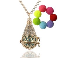 pendant flower rhinestone - 1 pc Icecream Copper Teardrop Flower Rhinestone Hollow Aromatherapy Diffuser Locket Necklace Essential Oil Charms