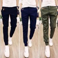 achat en gros de cheville cravate-Hot Selling 2016 Printemps Automne Pantalons Pantalons Hommes Casual Solid Cheville-attachés Jeunes Pantalons Hommes (taille asiatique)