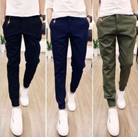 asian blue - Hot Selling Spring Autumn Mens Joggers Pants Casual Solid Ankle tied Youths Men Trousers Asian Size
