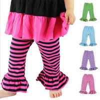 Wholesale Stripe Ruffle Girls Skinny Trousers for Winter Cotton Nature Color Print Toddler Girls Mid Waist Pants