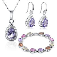 alloy oxidation - Fashion jewelry sets crystal bracelet inlaid with pink and purple color retention necklace earrings Set Jewelry oxidation