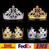 Wholesale Fashion Luxury Crystal Diamond King And Queens Crown Hats Cosplay Holloween Party Birthday Princess Hats Caps Gold Silver Gifts WX H47