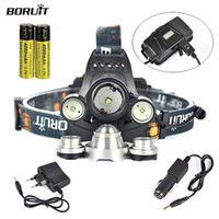 Wholesale Boruit LED Headlamps Lumen CREE XM L Headlamp Headlight Batteries Head Torch Lamp AC Charger Car Charger for Outdoor Camping