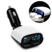 Wholesale Universal Dual USB Car Charger Adapter A A Voltage Monitor Car Charger For iPhone S Plus Ipad Samsung Tablet Charger