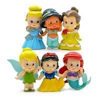tinkerbell - 6pcs set Princess Figures Toys Q Version Mermaid Tinkerbell Snow White Cinderella Bella PVC Action Figure Toys Doll Model Toy