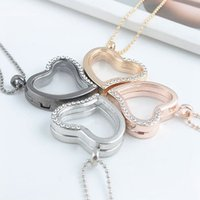 Cheap Hot Sale Mix 4 Color 28mm Heart Magnetic Floating Locket Glass Living Memory Locket With Rhinestone(chains included for free)
