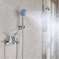 Wholesale Exposed Design Hand Shower Set Wall Mounted Shower Faucet Set Chromed Brass Faucet ABS Hand Shower HJ