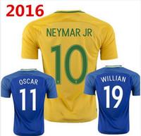 2016-2017 Brasil camisetas de fútbol Tailandia camiseta de fútbol de calidad 19 Willian 11 Oscar 4 David Luiz hombres manga corta ropa deportiva de color amarillo