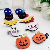 baby icon - Cute Cartoon Hair Accessories New Glitter Felt Halloween Icon Baby Hairpins pumpkin Cat Kids Barrettes
