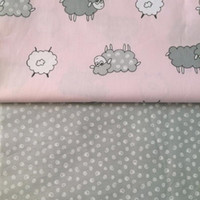 ab cotton twill - 50 cm cotton twill cartoon Curly cute sheep pink AB cloths DIY for kids tent patchwork quilting buddle fabrics