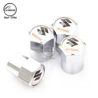 Wholesale SILVER CHROME WHEEL VALVE CAP TYRE STEM AIR CAPS for SUZUKI WHITE