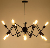 Wholesale Hot Spider Chandelier Vintage Wrought iron Pendant lamp Loft American Style Lighting Fixture lights