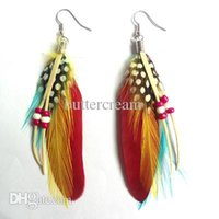 beaded peacock feather earrings - Summer Fashion Multicolor Beaded Peacock Long Feather Earrings Women DME025 Party Jewelry