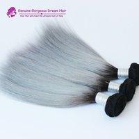 Cheap High quality Brazilian 3pcs lot ombre silver grey hair weaving 1b gray two tone Brazilian Virgin human hair extensions