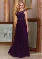 beads on ribbon - On Sale Tulle Bridesmaid Dresses A line Scoop Neck Floor length With Ruffle Applique Sash Sequins Cheap Bridesmaids Dresses DL20069