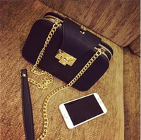 Wholesale 2016 Time limited Shoulder Bags Black Women The New Lock Chain Small Bag All match Fashion Shoulder Messenger Bag Leisure Bag Quality Pu