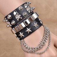 american tennis stars - Fashion Gothic style Europe And The United States PU Leather Bracelet Hot Skulls Star Bracelet For Men Or Women300506