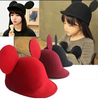 big ear mouse - Hug Me Wool felt lovely Mouse parent child baby horseman hat his big ears Children s mickey ears equestrian cap AA