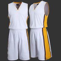 Wholesale 2016 Hot Men s Basketball Clothes Set Male Sports Basketball Jersey Sleeveless Stripe Training Shirt Absorb SweatShorts Set Size L XL