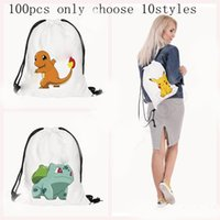 Wholesale Poke Backpacks drawstring schoolbag presell styles Cartoon Pikachu D Printing drawstring bags Shopping Bags handbags Packs Bags