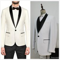 Wholesale 2016 Custom Made White With Black shawl Lapel Groom Tuxedo Groomsmen Men Wedding Suits Groom Wear Piece include jacket and pants and tie