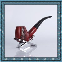 Wholesale Solid Wood Carved Pipes - Red sandalwood pipe Solid wood carving Can Disassemble wash cigarette holder tobacco pipe Lth 146mm European style Original smoking pipe DHL