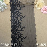 Wholesale 30Yard cm Black Wide Embroidered Lace Trim Guipure Lace Fabric Tulle Dentelle Tissu Sewing Accessories Lace AC0522