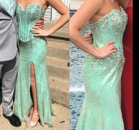 accent siding - Mermaid Prom Dresses Party Evening GownsSweetheart Beading Crystals Lace Accents Side Slit Long Formal Gowns
