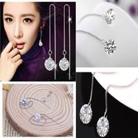 Cheap White Gold Fashion Hot Jewelry Crystal Ear Wire sale charming Earrings Ear Line long chain fine jewelry