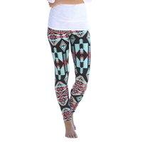 aztec gold color - Vintage Women Plus Size Tribal Aztec Print Leggings Multi Color Long Soft Long Pants