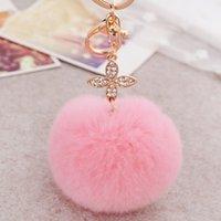 ball clover - Fur Ball Key Chains with Clover Fashion Bag Purse Accessories Fashion Elegant Car Key Chains for Women and Girls mqy
