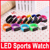 Wholesale Screen Color Squares - mix color Candy Color Silicone LED Waterproof Sport Wrist Watch Strap Square Dial Digital Display Touch Screen Rubber Belt Bracelet