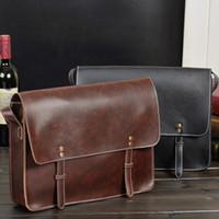 Wholesale Fashion Men Trendy PU leather Retro Laptop Bag Shoulder Messenger Bags Cross Body Casual Businees Style Travel Bag F294