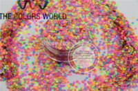 Wholesale RN2 Mix MM Neon Color Solvent Resistant Glitter Dot Circle shape Glitter for Nail Polish Acrylic supplies1pack g