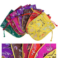Wholesale 5pcs Jewelry Bags Chinese Style Vintage Embroidered Silk Jewelry Rolls Pouch Gift Bags X13CM Mixed Colors