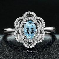 aquamarine flower ring - 925 Sterling Silver Jewelry Brazil natural Topaz Aquamarine Ring Wedding flower and full Semi precious Stone for women
