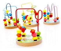 Wholesale Baby Wooden Mini Round Beads Wire Maze Colorful Educational Game Beach Children Toys