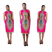 Wholesale 2016 New Fashion African Geometric Totem Retro Print Dress African National Sleeveless Stand Collar Dress B
