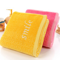 bath towel embroidery - 2016 Factory Outlets Yellow Cotton Towels Pink Gradient Creative Home Embroidery Lovers Gifts HY1231