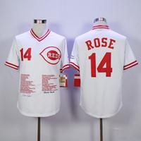 baseball team gear - Reds Rose Baseball Jerseys CINCINNATI REDS GEAR Cool Base Authentic Mens Baseball Wears All Teams Baseball Sportswear
