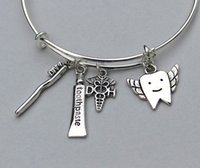 Wholesale 12pcs DENTAL HYGIENIST Adjustable Bangle Charm Bracelet Dental Gift For Her silver tone
