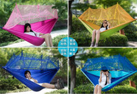 Wholesale Portable Camping Hammock Sleeping Bed Outdoor High Strength Parachute Swing Indoor Sleeping Hammocks Bed With Mosquito Net Sleeping Hammocks