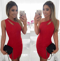 Wholesale Women Sexy Club Sleeveless One Shoulder Mini Dresses For Female New Summer Plus Size Hollow Out Sheath Short Dress S XXL