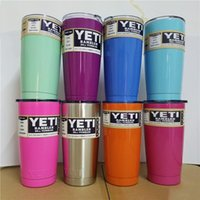 Wholesale 8 Mixcolors Beer Mug oz Yeti Cup Stainless Steel Yeti Rambler YETI Coolers Rambler Tumbler Double Walled Travel Mug YETI cup colster