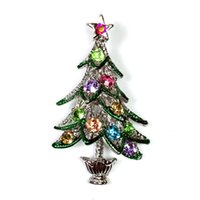 african pine tree - Super Cute Vintage Silver Color Christmas Tree Brooch Accented with Colored Crystal Stone Open Leaf Tiered Holiday Pine Tree Pin